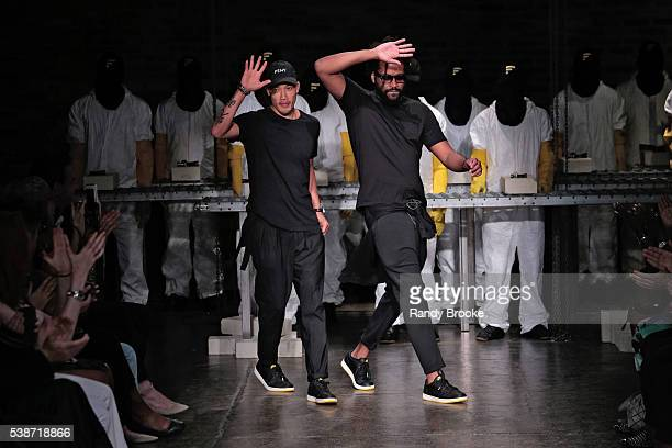 The designers DaoYi Chow and Maxwell Osborne greet the audience after the Public School's Women's And Men's Spring 2017 Collection at Pier 76 on June...