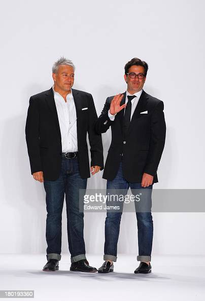 The designers Ken Kaufman and Isaac Franco walk the runway at the Kaufmanfranco show during Spring 2014 MercedesBenz Fashion Week at The Theatre at...