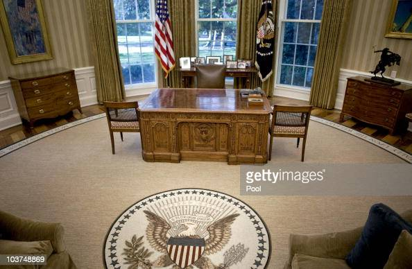 The desk of US President Barack Obama sits in the newly redecorated Oval Office of the White House August 31 2010 in Washington DC US President...