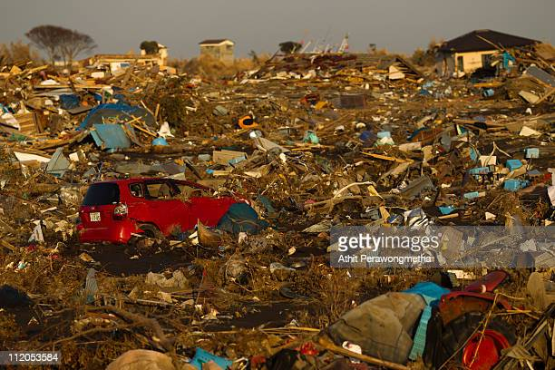 The destroyed area is seen within the exclusion zone about 6km away from Fukushima Nuclear Power Plant on April 12 2011 in Namie Fukushima Prefecture...