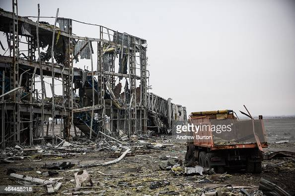The destroyed Donetsk airport is seen on February 26 2015 in Donetsk Ukraine The Donetsk airport has been one of the most heavily fought over pieces...