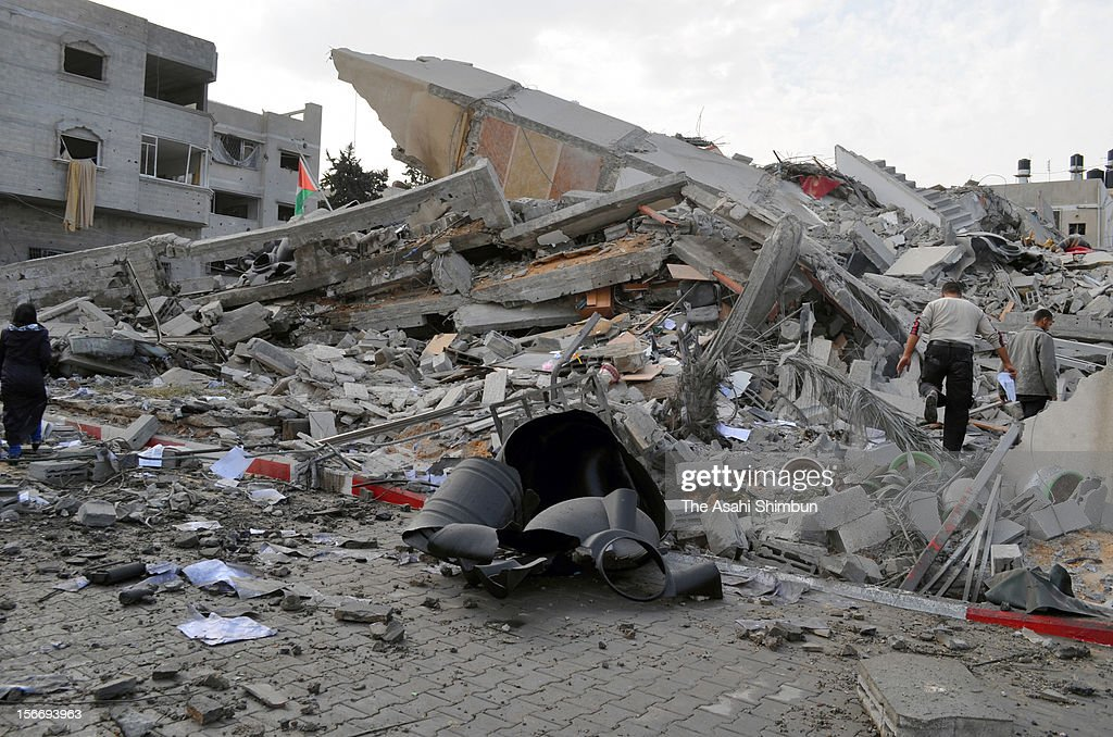 The destroyed Hamas Prime Minister office building is seen on November 17, 2012 in Gaza City, Gaza. The headquarters was bombed by Israeli air strike and fierce exchange of fire continues.