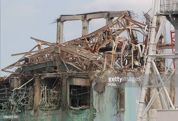 The destroyed no 3 reactor building of Tokyo Electric Power Co 's tsunamicrippled Fukushima Daiichi nuclear power plant is seen during a media tour...