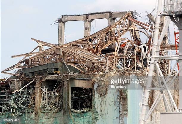 The destroyed top of the No3 reactor building is seen at Tokyo Electric Power Co's Fukushima DaiIchi nuclear power plant in Fukushima Prefecture...