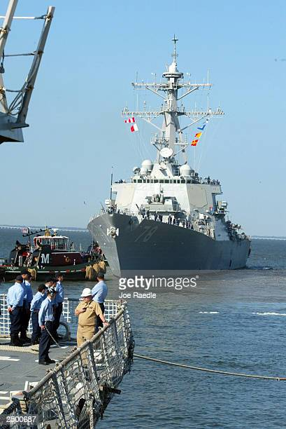 The destroyer USS Porter is pulled away from the dock at Naval Station Norfolk September 16 2003 in Norfolk Virginia The Navy ordered 40 ships out to...