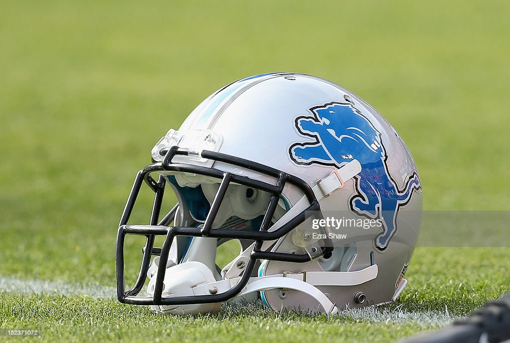 The Detroit Lions helmet on the field before their game against the San Francisco 49ers at Candlestick Park on September 16 2012 in San Francisco...