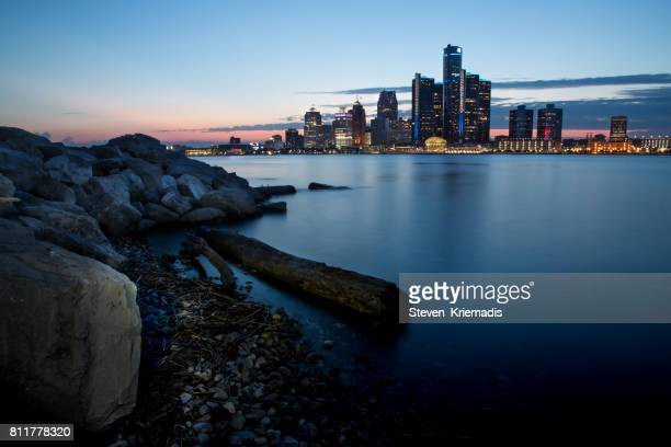 The Detroit, Michigan Skyline at Dusk
