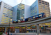 The Detroit People Mover elevated subway system runs through downtown Detroit Michigan