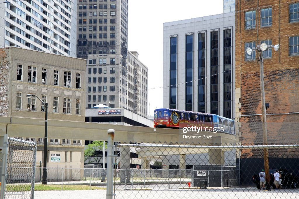 The Detroit People Mover makes it's way through downtown, in Detroit, Michigan on JULY 21, 2012.