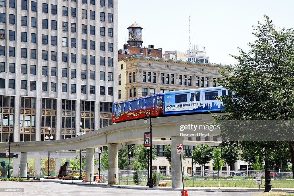 The Detroit People Mover makes it's way through downtown, in Detroit, Michigan on JULY