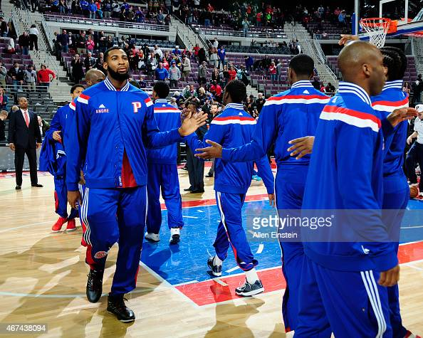 The Detroit Pistons before the game against the Toronto Raptors on March 24 2015 at The Palace of Auburn Hills in Auburn Hills Michigan NOTE TO USER...