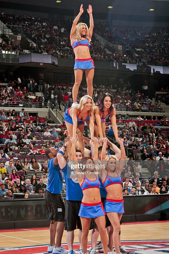 The Detroit Pistons Cheer Team performs during a game against the Chicago Bulls on April 7, 2013 at The Palace of Auburn Hills in Auburn Hills, Michigan.