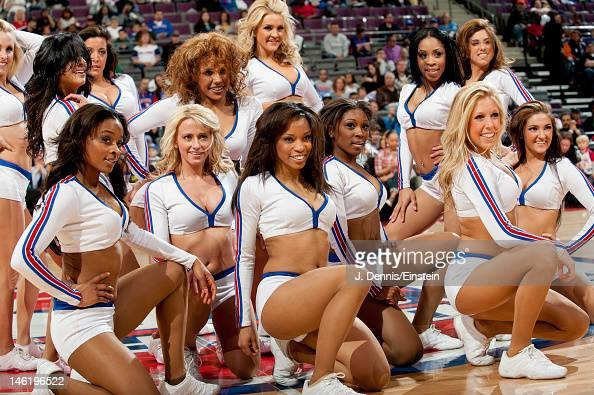 The Detroit Pistons dancers pose for a photo before a game against the Toronto Raptors on April 22 2012 at The Palace of Auburn Hills in Auburn Hills...