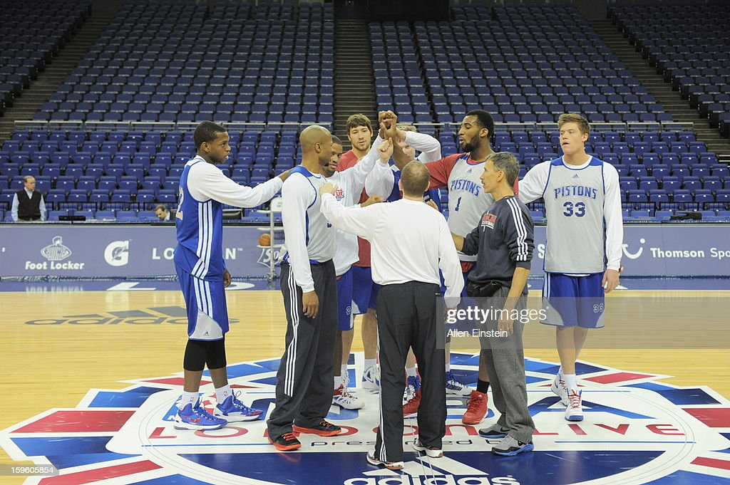 The Detroit Pistons huddle during practice at the O2 Arena as part of London Live 2013 on January 16, 2013 in London, England.