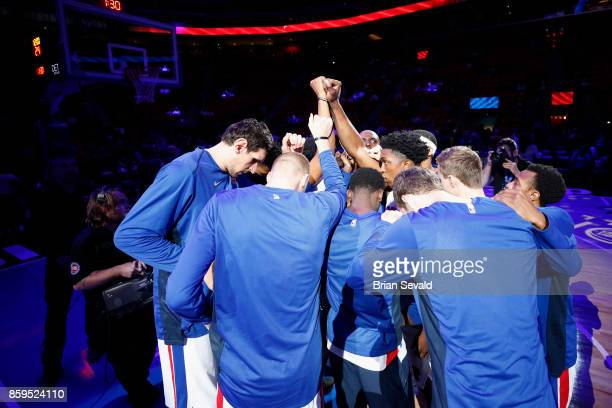 The Detroit Pistons huddle up before the game against the Indiana Pacers on October 9 2017 at Little Caesars Arena in Detroit Michigan NOTE TO USER...