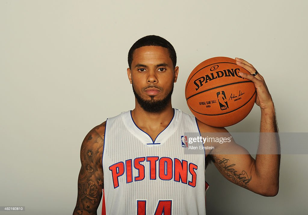 The Detroit Pistons introduce DJ Augustin at a press conference on July 15 2014 at Palace of Auburn Hills in Auburn Hills MichiganNOTE TO USER User...