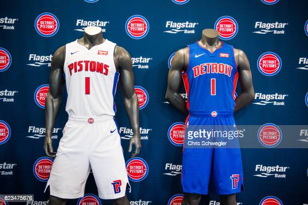 The Detroit Pistons introduce two new uniforms by Nike on July 26 2017 at the Nike Store in Detroit Michigan NOTE TO USER User expressly acknowledges...