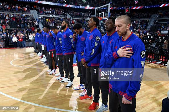 The Detroit Pistons line up before the game against the Cleveland Cavaliers on November 17 2015 at The Palace of Auburn Hills in Auburn Hills...