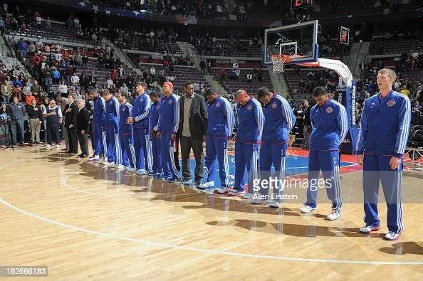The Detroit Pistons line up during the game between the Detroit Pistons and the Atlanta Hawks on February 25 2013 at The Palace of Auburn Hills in...
