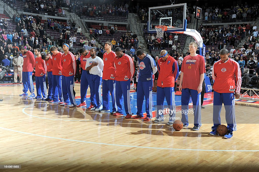 The Detroit Pistons line up during the game between the Detroit Pistons and the Toronto Raptors on March 29, 2013 at The Palace of Auburn Hills in Auburn Hills, Michigan.