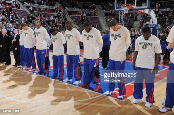 The Detroit Pistons line up during the national anthem prior to the game against the Washington Wizards on April 5 2012 at The Palace of Auburn Hills...