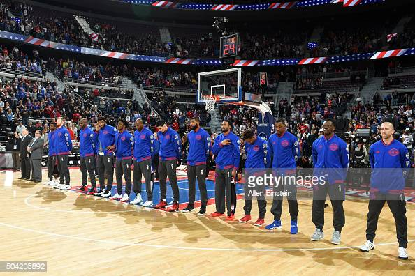 The Detroit Pistons line up for the National Anthem before the game against the Brooklyn Nets on January 9 2016 at The Palace of Auburn Hills in...