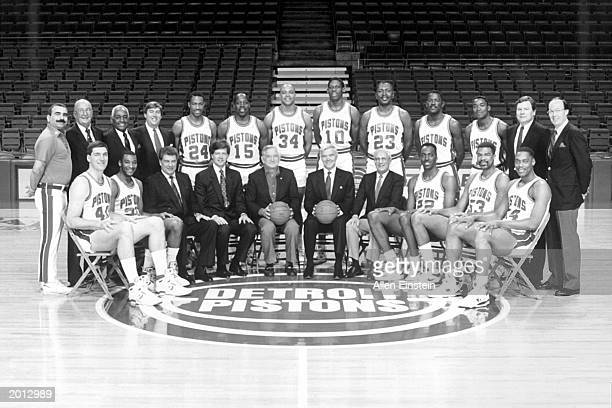 The Detroit Pistons pose for the 198889 NBA World Champions team portrait at The Palace of Auburn Hills in Auburn Hills Michigan Front row Bill...