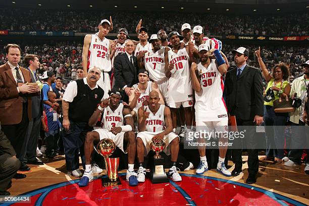 The Detroit Pistons poses for a photo as they celebrate winning the Championship in Game five of the 2004 NBA Finals against the Los Angeles Lakers...