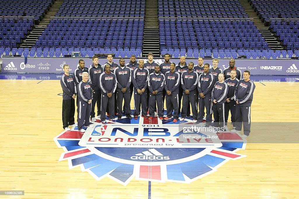 The Detroit Pistons poses for a team portrait at the O2 Arena on January 17, 2013 in London, England.