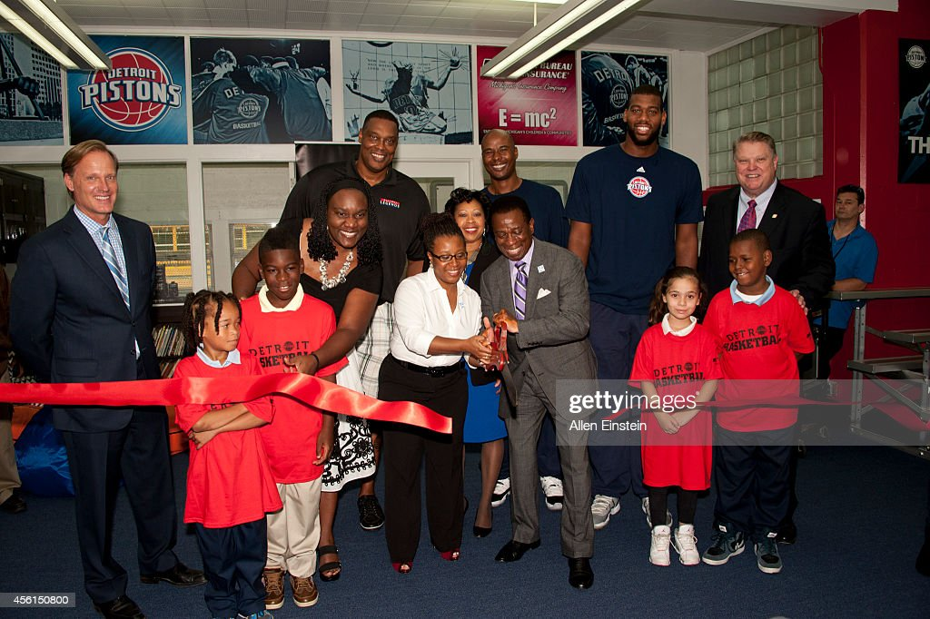 The Detroit Pistons renovate a library as part of the NBA's Live Learn and Play Program event on September 25 2014 at Carver STEM Academy in Detroit...
