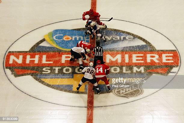 The Detroit Red Wings and St Louis Blues faceoff before the start of the 2009 Compuware NHL Premiere Stockholm match between Detroit Red Wings and St...