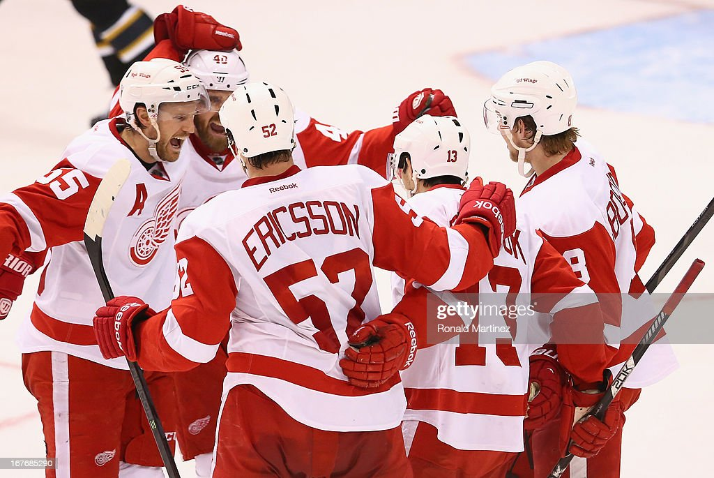 The Detroit Red Wings celebrate a goal by Jonathan Ericsson against the Dallas Stars at American Airlines Center on April 27, 2013 in Dallas, Texas.