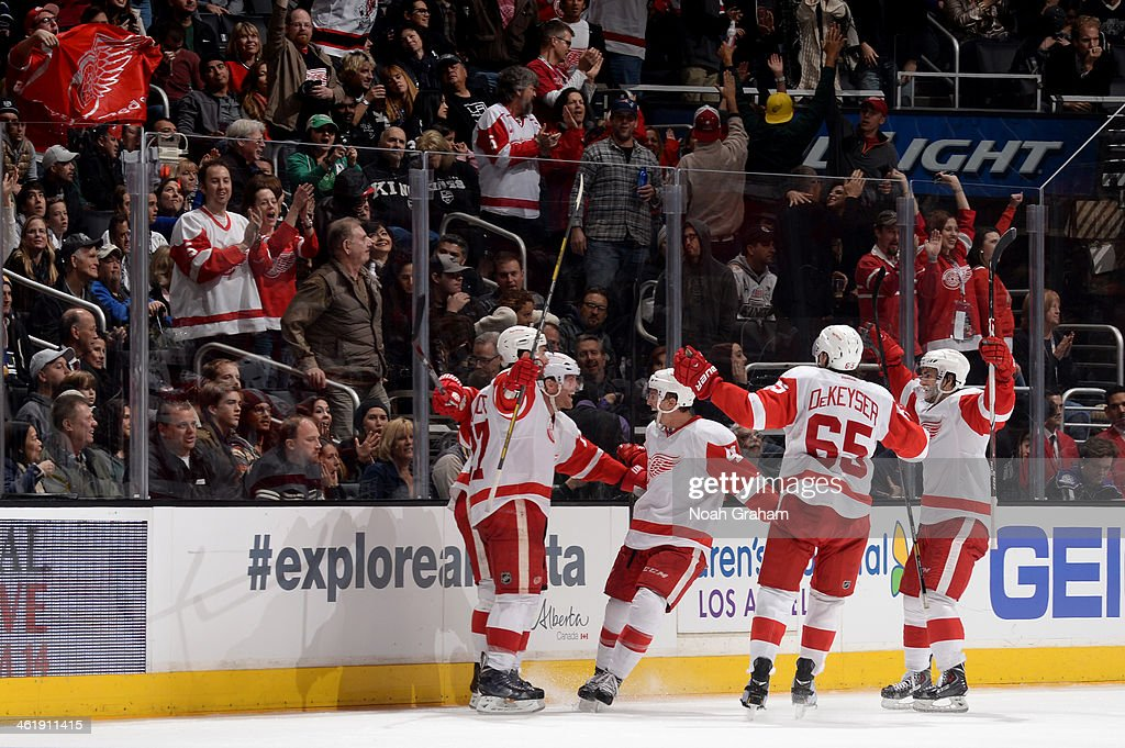 The Detroit Red Wings celebrate after a goal against the Los Angeles Kings at Staples Center on January 11, 2014 in Los Angeles, California.