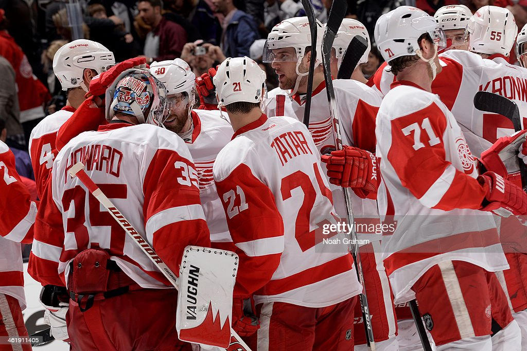 The Detroit Red Wings celebrate after defeating the Los Angeles Kings at Staples Center on January 11, 2014 in Los Angeles, California.