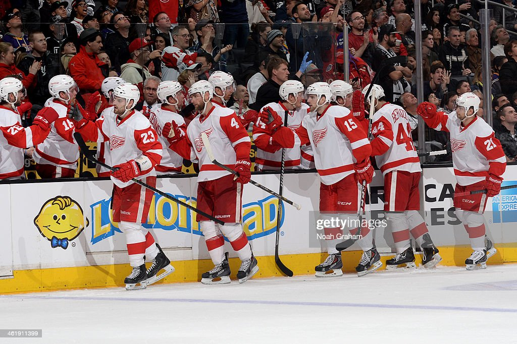 The Detroit Red Wings celebrate with the bench after a goal against the Los Angeles Kings at Staples Center on January 11, 2014 in Los Angeles, California.