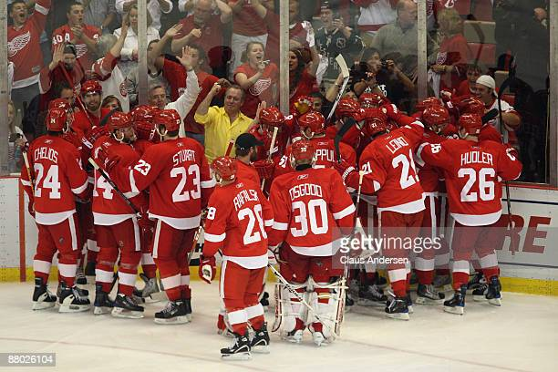 The Detroit Red Wings celebrate with their fans along the boards after Darren Helm scored the gamewinnning goal in overtime for a 21 win against the...