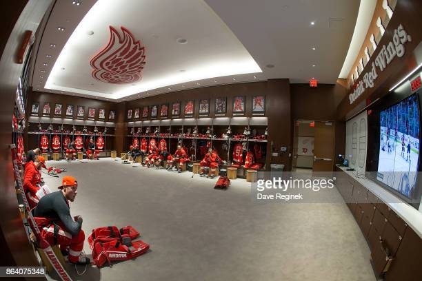 The Detroit Red Wings get ready in their locker room prior to an NHL game against the Washington Capitals at Little Caesars Arena on October 20 2017...