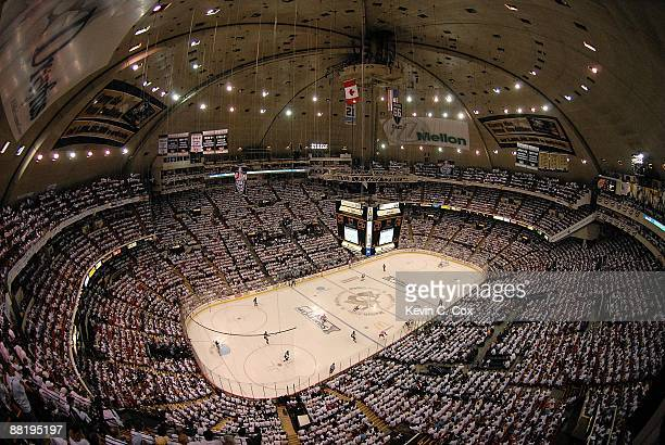 The Detroit Red Wings take on the Pittsburgh Penguins during Game Three of the 2009 NHL Stanley Cup Finals on June 2 2009 at Mellon Arena in...