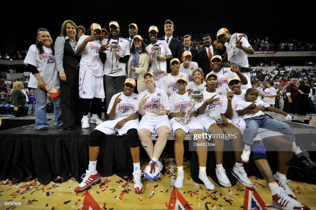 The Detroit Shock celebrates after winning Game Three of the WNBA Finals against the San Antonio Silver Star on October 5 2008 at the Eastern...
