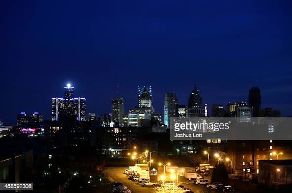 The Detroit skyline is seen on November 7 2014 in Detroit Michigan Today US Bankruptcy Judge Steven Rhodes gave the City of Detroit the okay to plan...