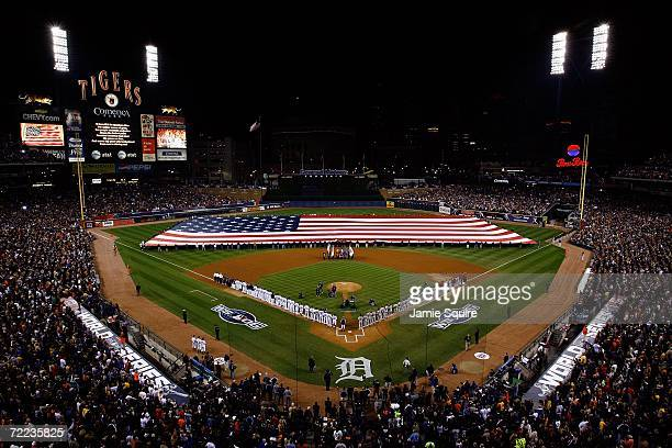 The Detroit Tigers and the St Louis Cardinals line up on the field before the start of Game One of the 2006 World Series on October 21 2006 at...
