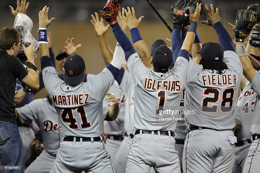 The Detroit Tigers celebrate a 1-0 win of the game against the Minnesota Twins on September 25, 2013 at Target Field in Minneapolis, Minnesota. The Tigers clinched the American League Central Division title.