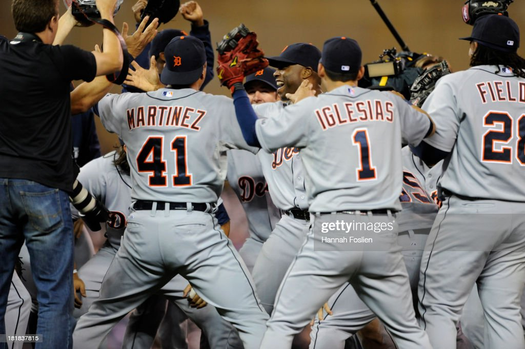 The Detroit Tigers celebrate a win of the game against the Minnesota Twins on September 25, 2013 at Target Field in Minneapolis, Minnesota. The Tigers clinched the American League Central Division title with a 1-0 win over the Twins.