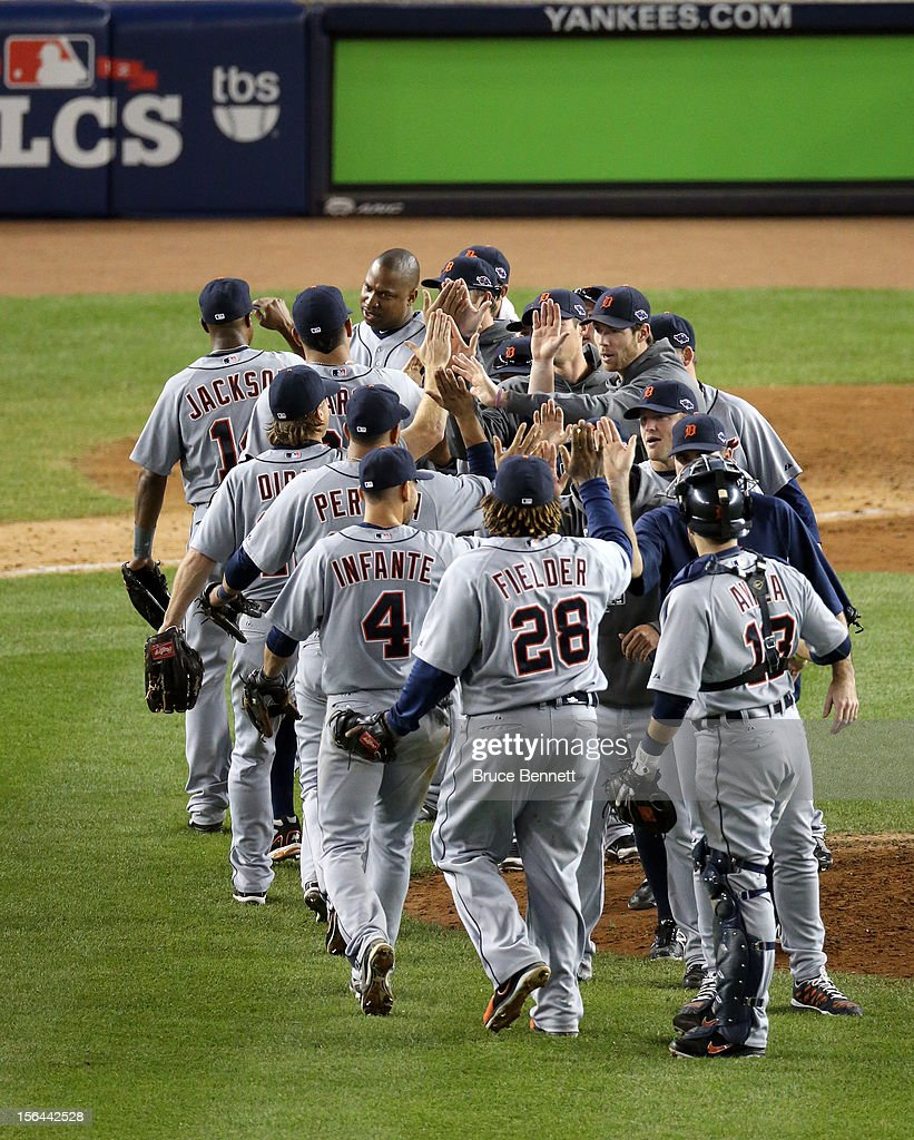 The Detroit Tigers celebrate after they won 3-0 against the New York Yankees during Game Two of the American League Championship Series at Yankee Stadium on October 14, 2012 in the Bronx borough of New York City.