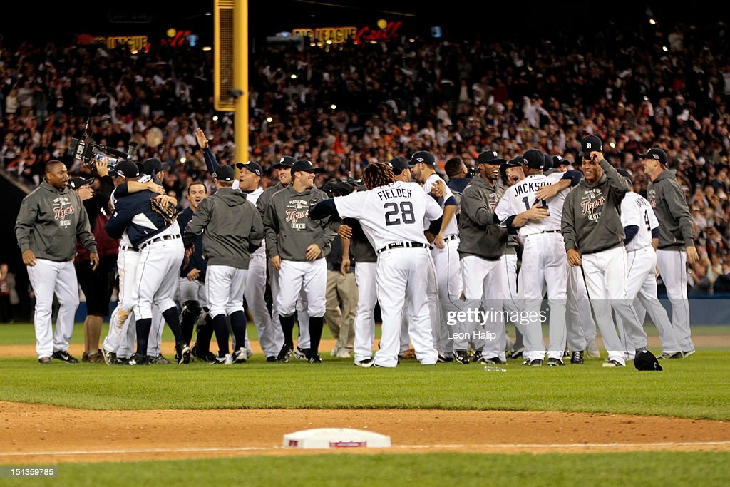 The Detroit Tigers celebrate after they won 8-1 against the New York Yankees during game four of the American League Championship Series at Comerica Park on October 18, 2012 in Detroit, Michigan.