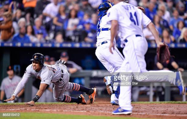 The Detroit Tigers' Dixon Machado scores on a threerun double by against the Kansas City Royals in the fifth inning at Kauffman Stadium in Kansas...