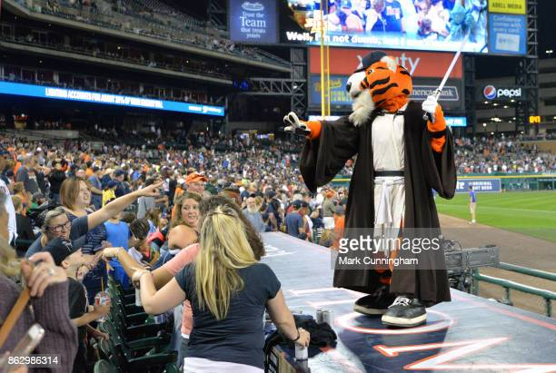 The Detroit Tigers mascot Paws entertains the crowd dressed in Star Wars attire during the Star Wars Night game against the Chicago White Sox at...