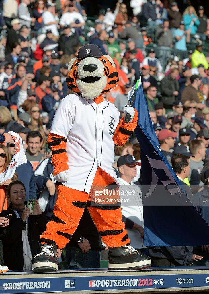 The Detroit Tigers mascot Paws performs for the crowd during Game Four of the American League Championship Series against the New York Yankees at Comerica Park on October 18, 2012 in Detroit, Michigan. The Tigers defeated the Yankees 8-1 and now advance to the World Series.