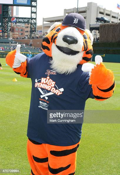 The Detroit Tigers mascot Paws poses for a photo prior to the game ...