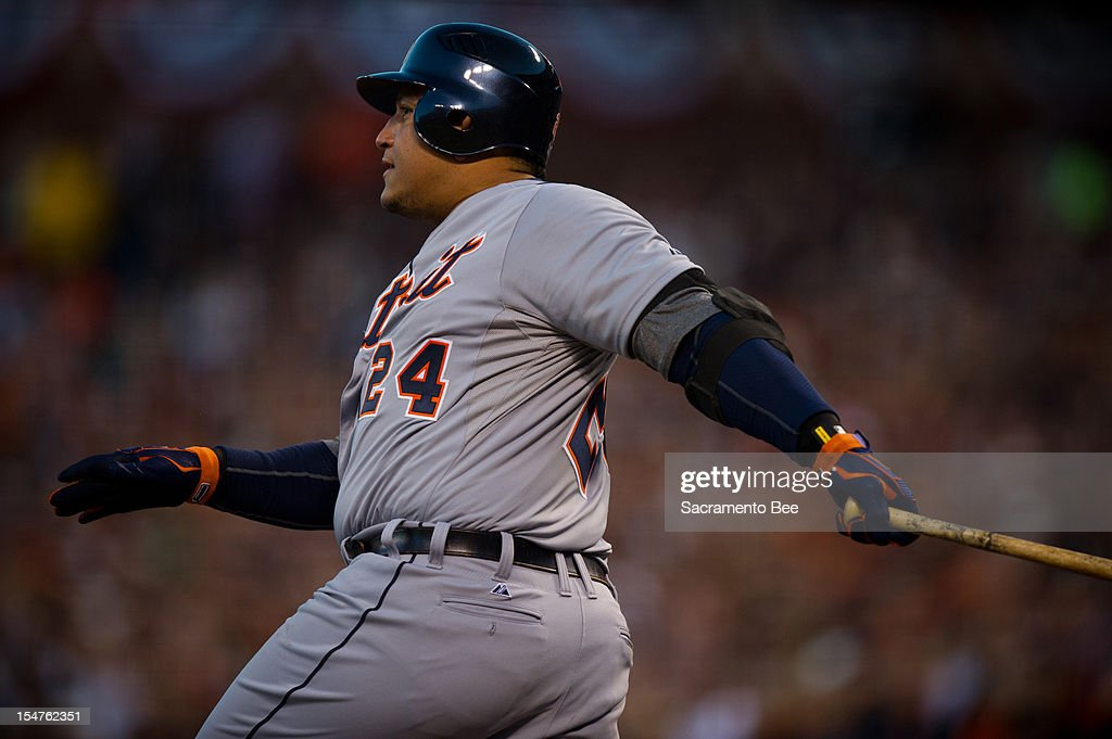 The Detroit Tigers' Miguel Cabrera lines out to San Francisco Giants third baseman Pablo Sandoval in the fourth inning in Game 2 of the 2012 World Series at AT&T Park on Thursday, October 25, 2012, in San Francisco, California.